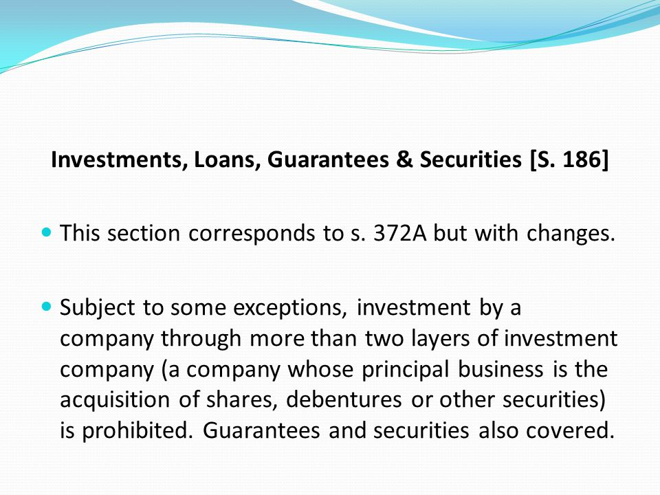 Investments, Loans, Guarantees & Securities [S. 186]